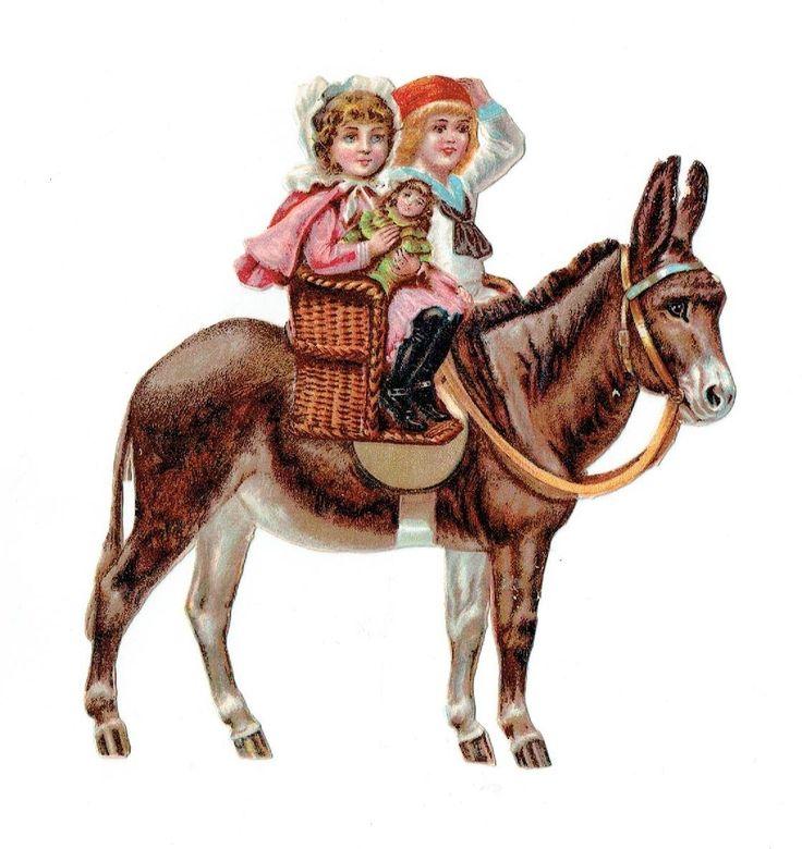 Un chromo - Découpis - Jeune fille, enfants sur un âne - Sans défaut -   fr.picclick.com