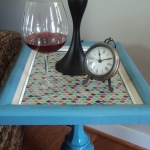DIY Pedestal Side Table with an old lamp base and a picture frame