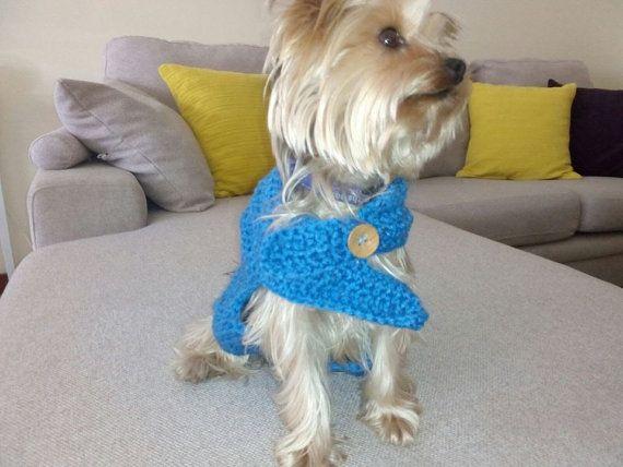 Jersey de lana azul en ganchillo en color azul by CraftyRoad