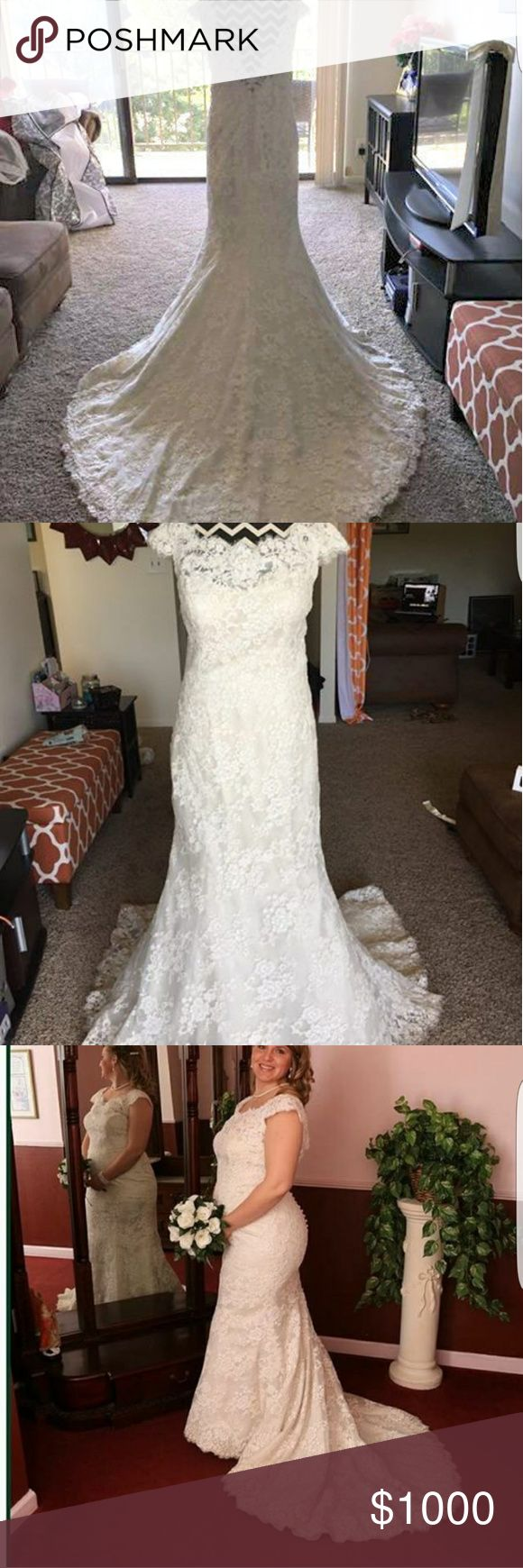 Allure Lace Wedding Dress Beautiful Allure Lace Wedding dress prestine condition.  Has been altered in hips, breast cups added. Bridal size 14 street size 10/12. Custom bustle, loop and button. Allure Bridals Dresses Wedding