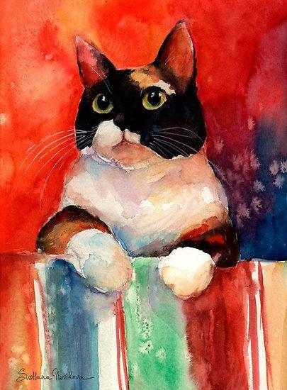 """Watercolor Calico Tubby Cat painting Svetlana Novikova"" by Svetlana Novikova | Redbubble"