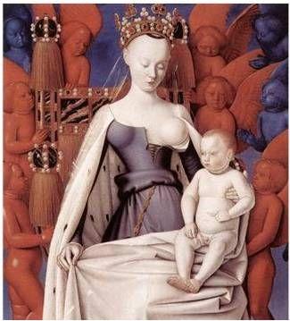 믈룅 성모 마리아, by. 장 푸케  -1840~1860 사이 유행한 크리놀린(Crinoline) -코르셋의 시초 -역사상 가장 넓게 퍼진 스커트 착용이 가능해짐