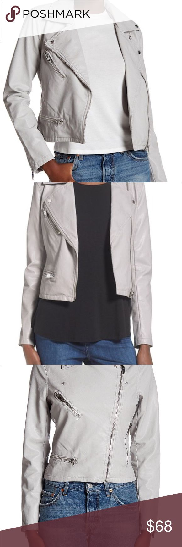 """Blank NYC grey faux leather moto jacket Mint condition, satin lined, very comfortable and beautiful color goes with everything ! Chunky silver accents. Color is """"Stonehenge"""" Blank NYC Jackets & Coats"""