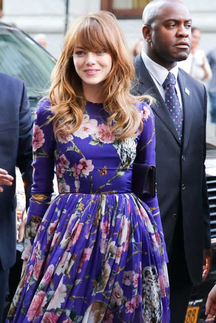Emma Stone was a vision in Dolce & Gabbana's floral chiffon gown, at the New York premiere of Magic in the Moonlight.