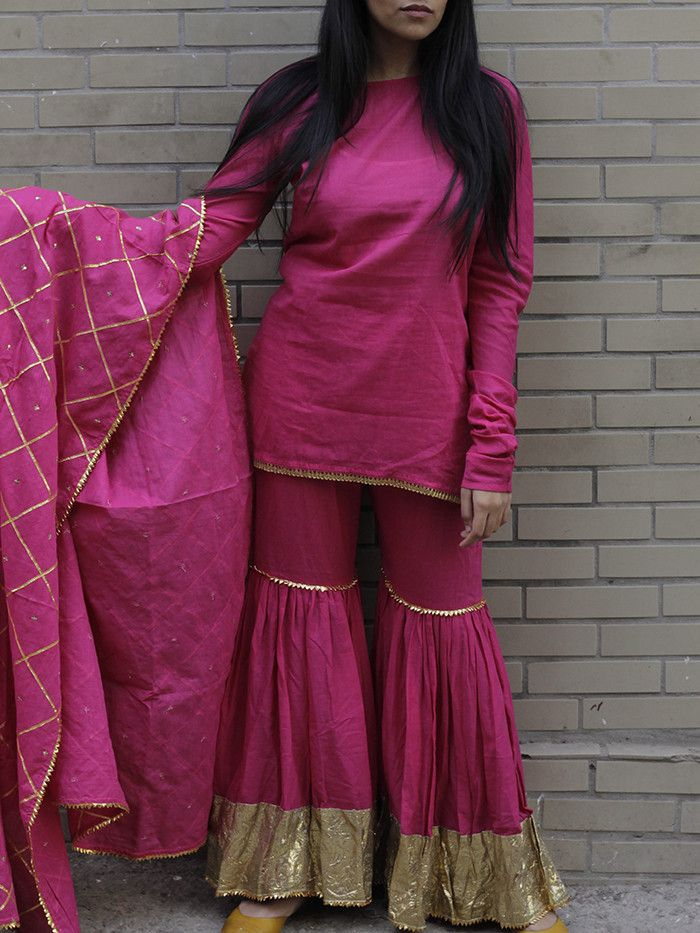 Magenta - Pink Cotton Lappa Sharara