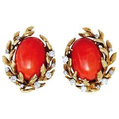 David Webb Mid-Century Mediterranean Coral Diamond Ear Clips