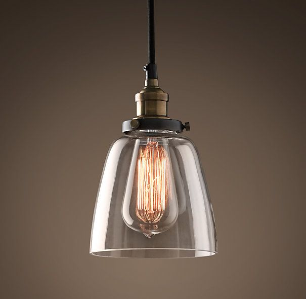 Glass cloche filament pendant in vintage steel by Restoration Hardware