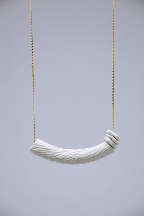 WHITE PORCELAIN necklace // porcelain jewelry by TheHeiressAtelier, €32.00