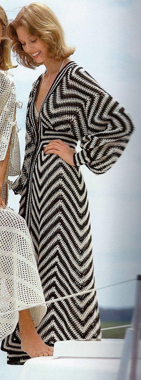 Retro Black and Ecru Beach Caftan or Swimsuit Coverup PDF Crochet Pattern