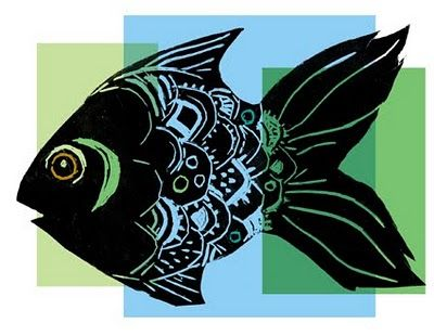 lino fish printed on solid blocks of colour