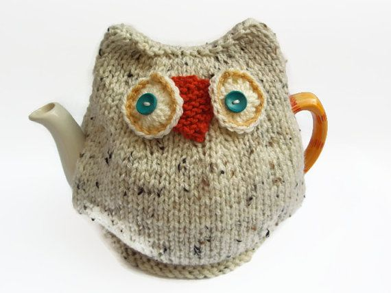 How creative!. . . . . . . .snowy  owl  tea cozy hand knitted tea cosy by TWINKKNITS on Etsy, £18.00