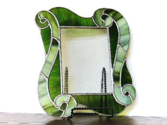 Green Waves Stained Glass Picture Frame by Legsi on Etsy, $65.00