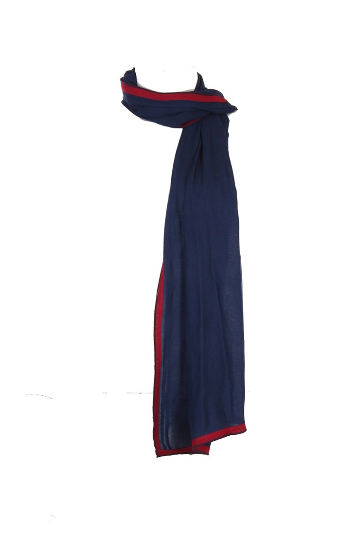 Half Width Imperial Blue Dupatta With Contrast Trim All Around And Baby Overlock Finish; 100% Viscose; 2.25M In Length; Non Crinkled #Fashion #Style #Colors #Drapes #W for #Woman
