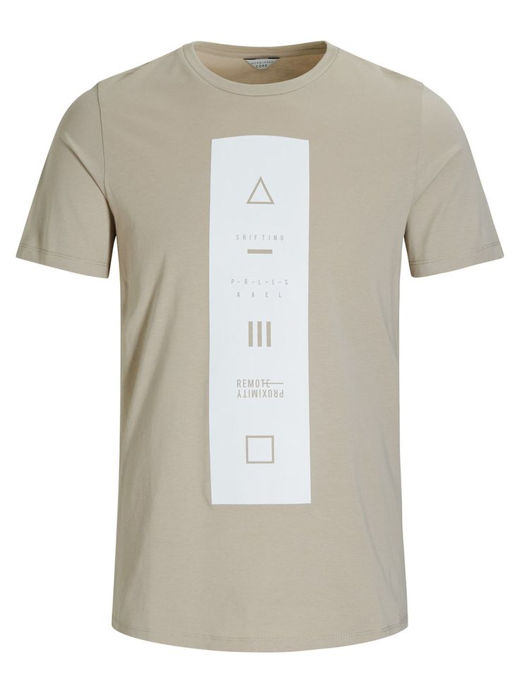 White and beige graphic tee with minimal details | JACK & JONES