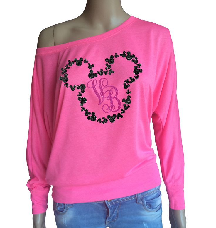 Ladies Disney Mickey Mouse inspired monogrammed neon pink Long Sleeve top with black and pink glitter. by iganiDesign on Etsy