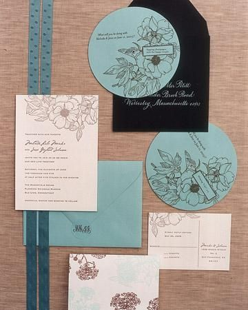 The letterpress wedding stationery takes its inspiration from the garden. Save-the-date dials reveal teasers about the impending day when rotated -- their floral images, as well as those on the invitations and reply postcards, are clip art. Plain stickers, hand-stamped with monograms, serve as envelope seals. Store-bought cards (bottom) are used as thank-you notes.