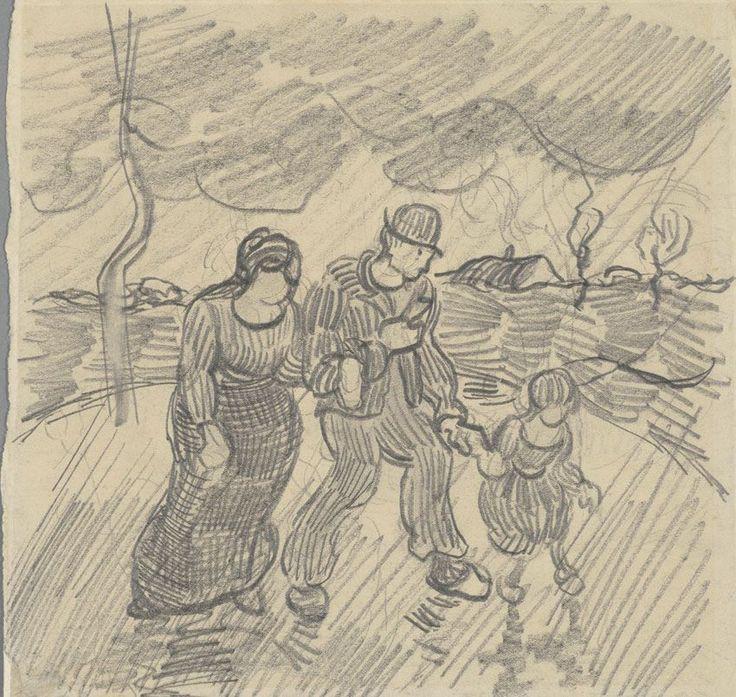 Vincent van Gogh (1853-1890), Wandelend paar met kind op een weg in de regen, 1890. Van Gogh Museum, Amsterdam. 14316_10154831448020597_2322718021942635374_n.jpg (850×806)