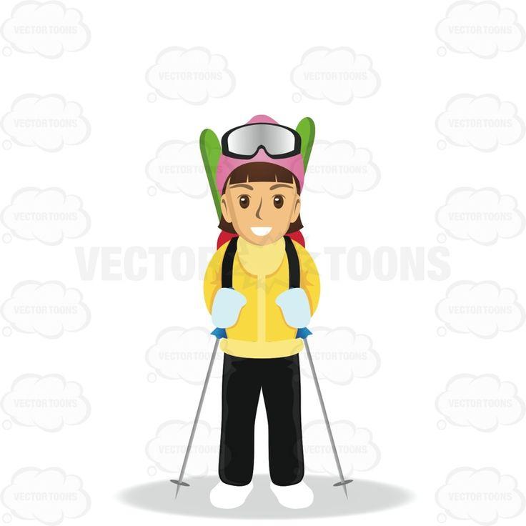 Brunette Woman Carrying Skis And Using Ski Sticks #biking #brunette #cold #excursion #female #flying #globetrotter #jet-setter #journeyer #movement #observer #passage #ride #sightseeing #skiing #skis #stranger #tour #tourist #transit #travel #trek #trip #tripper #vacation #visit #visitor #voyage #wayfarer #winter #woman