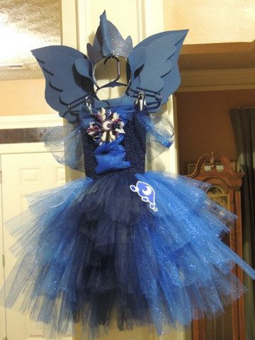 My Little Pony Princess Luna Inspired Tutu Dress w Cutie Mark. (Optional ears, horn, crown, and wings)