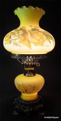Vintage 1971 L Wmc Yellow Hurricane Glass Floral Table Lamp Signed C Klein For The Home