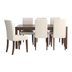 IKEA - BJURSTA / HENRIKSDAL, Tavolo e 6 sedie, Puoi cambiare facilmente e velocemente la misura del tavolo per adattarla alle tue esigenze. Grazie a 2 assi prolunga riposte sotto il piano, puoi allungare il tavolo per fare spazio a 6–8 persone.Le assi prolunga si possono tenere a portata di mano sotto il piano del tavolo.La funzione di bloccaggio nascosta evita fessure tra i piani e tiene ferma la prolunga.La superficie verniciata trasparente è facile da pulire.Ti offre una seduta…