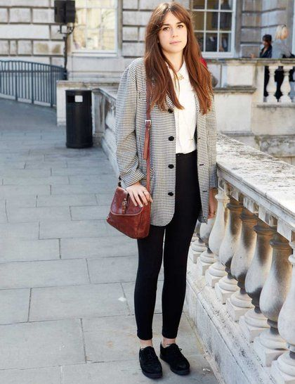 London street style. vintage bag and check jacket on casual outfit.
