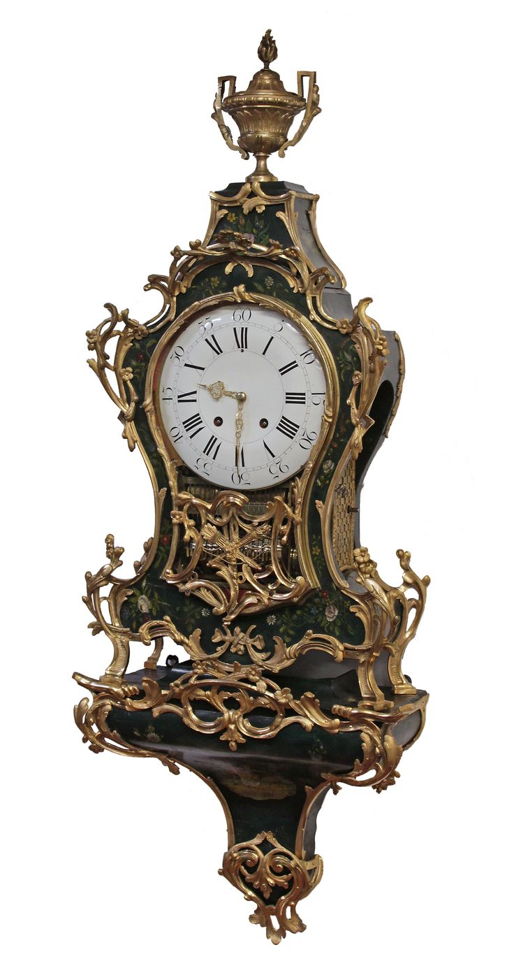 Swiss Ormolu and Painted Wood Dutch-Striking and Musical Neuchatel Clock, circa 1760. The shaped two piece transitional case and original bracket are elaborately decorated. | Exhibitor: Sundial NYC #AVENUE #clock