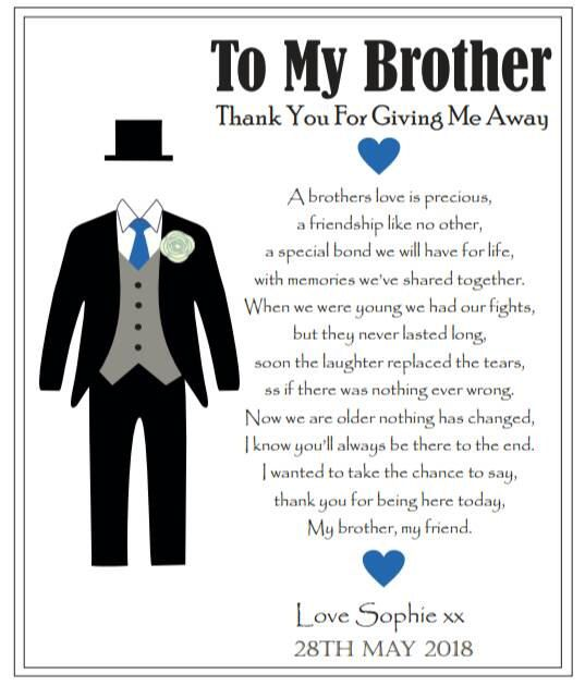 A personal favourite from my Etsy shop https://www.etsy.com/uk/listing/486202106/brother-of-the-bride-personalised-card