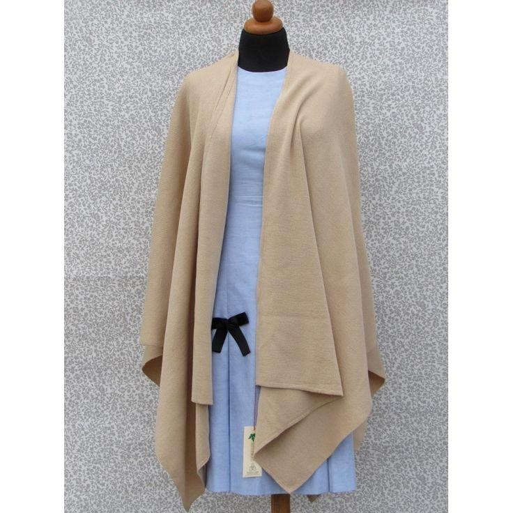Women's Knitted Cape - Plain Color Biege - 100% Acrylic - One Size