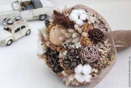 Купить Букет из сухоцветов с хлопком - коричневый, сухоцветы, букет цветов, букет, букет из сухоцветов