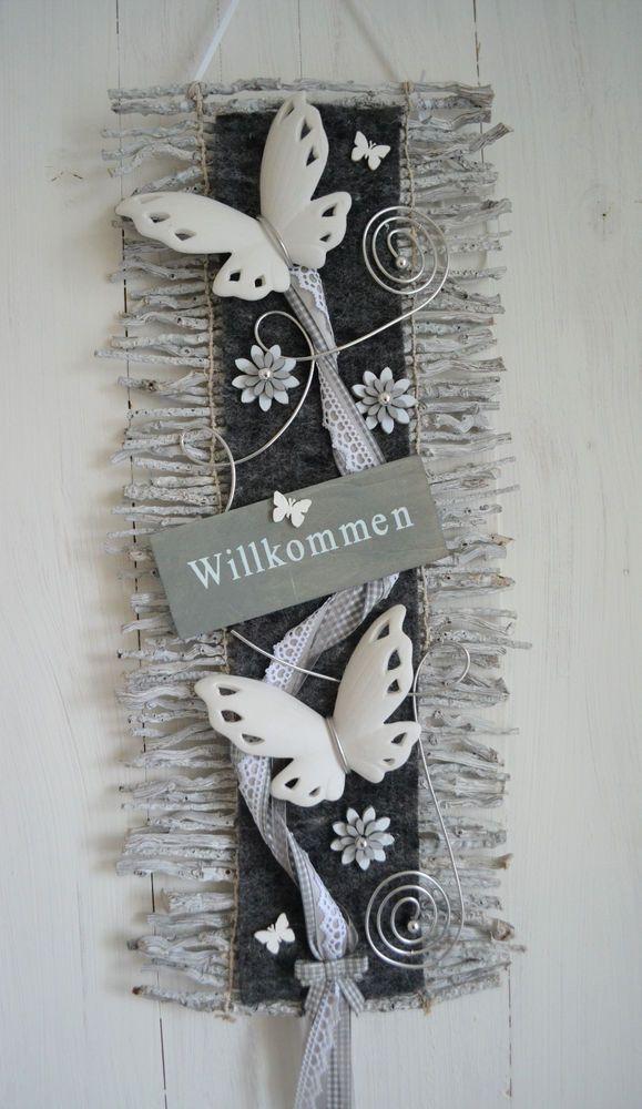 Türkranz  Türschmuck Türdeko  Rebenmatte grau/weiß, Willkommen Schmetterling  in Möbel & Wohnen, Dekoration, Außen- & Türdekoration | eBay!
