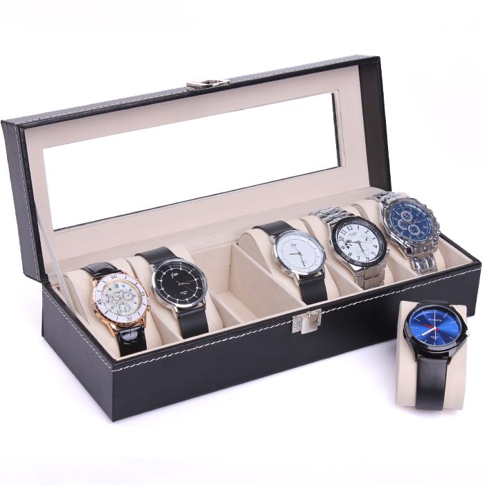 Free shipping New Wrist Watch Display Storage Organizer Box Container 6 Cell Leather Windowed Case watch box 6 cells hot selling