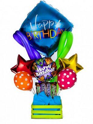 """Manda un """"Feliz Cumpleaños"""" con globos. Agrega algún detalle especial. https://azapregalos.com/florerias/df/globos/arreglo-de-globos-happy-birthday-estrellas-azules"""