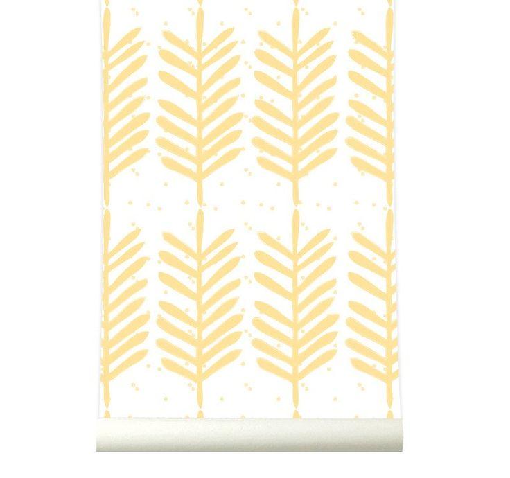 Behang Feathers yellow
