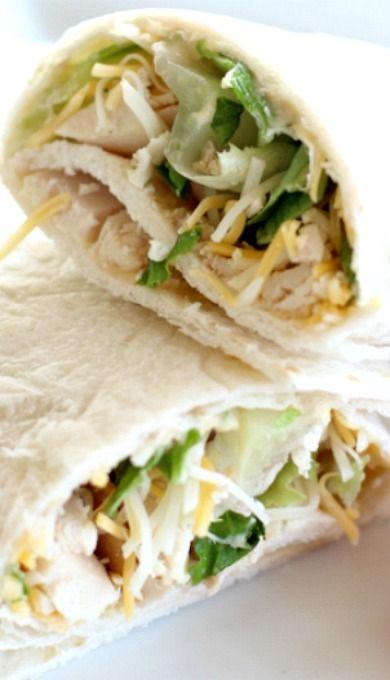 Garlic Chicken Hummus Wrap