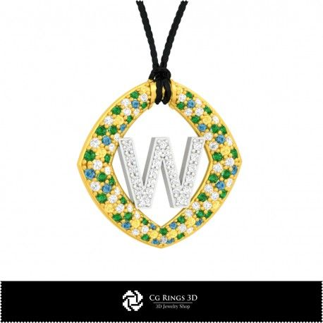 3D CAD Pendant With Letter W