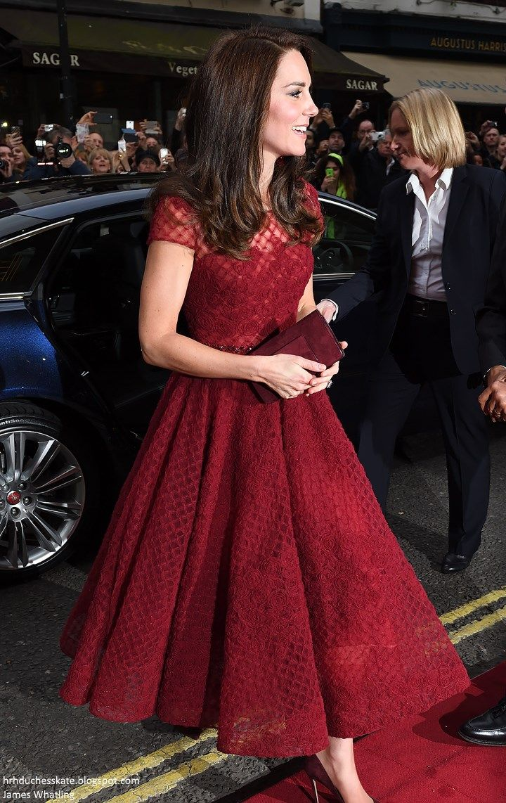 b4732386 Duchess Kate: Radiant Kate in Red Marchesa Notte for 42nd Street Opening  Night