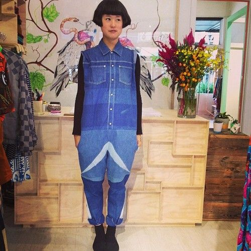 Andrea Crews upcycled denim overall at Dagmar Rousset