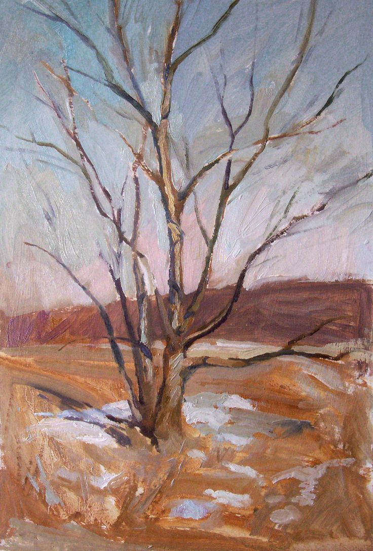 Thawing snow, oil on card, 51cm x 35cm