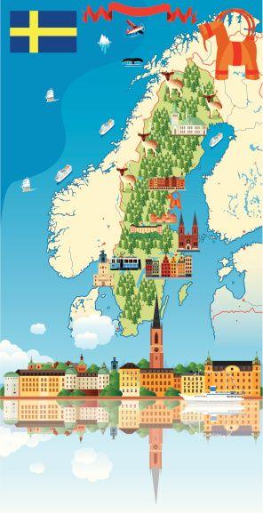Cartoon map of Sweden