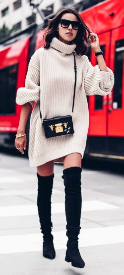 thigh high boots + oversized knit sweater + Annabelle Fleur + cosy + seasonal + utterly chic + upcoming winter!   Sweater: ACNE, Boots: Olgana Paris.