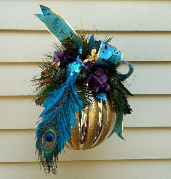 Christmas ornament, Gold striped ball, teal/ blue PEACOCK ...