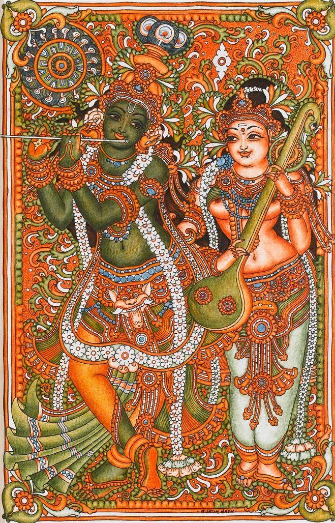 Radha Krishna-South Indian Painting http://display.discussdisplaydine.in/Shyam+Nadh/radha+krishna.jpg.html?g2_imageViewsIndex=1