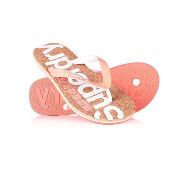 Superdry Cork Flip Flops (54.530 COP) ❤ liked on Polyvore featuring shoes, sandals, flip flops, pink, strap sandals, cork shoes, superdry shoes, cork flip flops and strappy flip flops