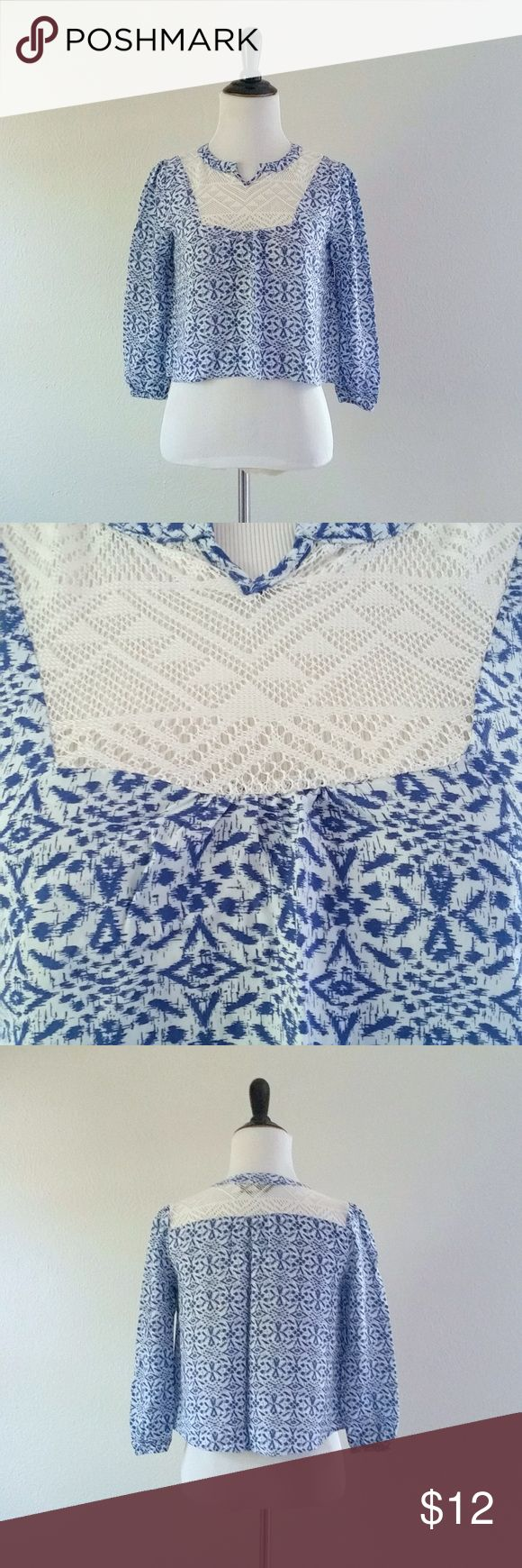 """Blue and White Cropped Blouse Blue and white crop top by Full Tilt. Has lace paneling and ¾ length sleeves. In excellent condition!  