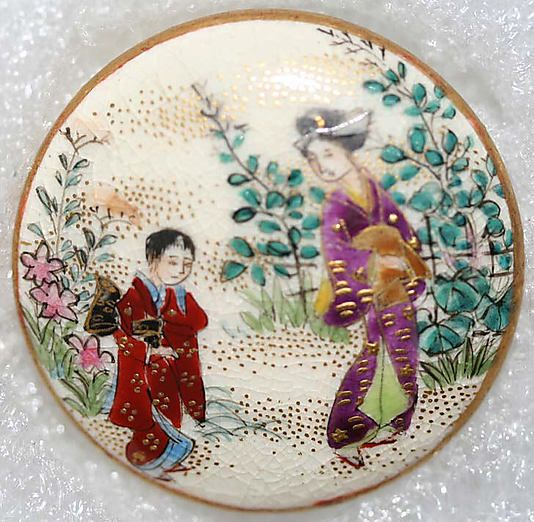 1850s Japanese porcelain satsuma button.