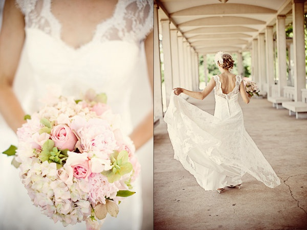 pretty mix of white + pink + green