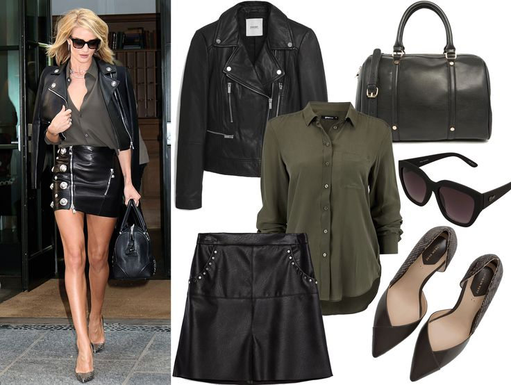 stjel stilen, rosie huntington-whiteley, fashion, mote, skinn, jakke, skjørt, rocka, stil, antrekk
