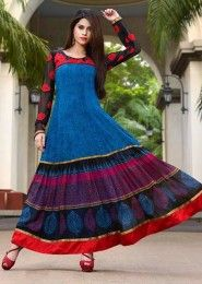 Casual Wear  Georgette Multi Colour Embroidered Work Anarkali Suit