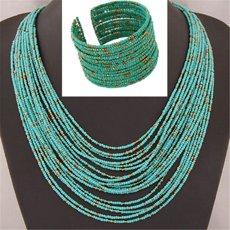 African Beads Jewelry Sets Bohemia Acrylic Bead Necklaces Bangles Women Fashion Statement Multilayer Necklace New Jewelry Set